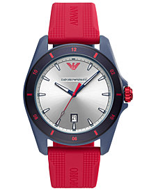 Emporio Armani Men's Red Silicone Strap Watch 44mm