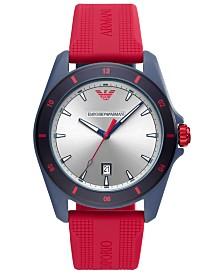 Emporio Armani Men's Red Silicone Strap Watch 44mm