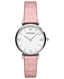 Emporio Armani Women's Pink Leather Strap Watch 32mm