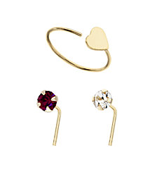 Bodifine 9 Carat Gold Crystal and Heart Accent Nose Studs and Ring Set of 3