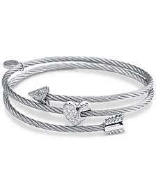 White Topaz Heart & Arrow Wrap Bracelet (1/8 ct. t.w.) in Stainless Steel & Sterling Silver
