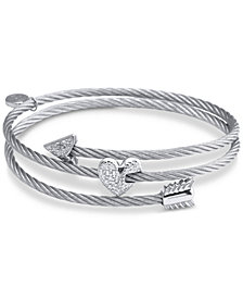 CHARRIOL White Topaz Heart & Arrow Wrap Bracelet (1/8 ct. t.w.) in Stainless Steel & Sterling Silver