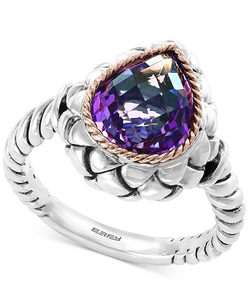 EFFY Collection EFFY® Amethyst Ring (3-5/8 ct. t.w.) in Sterling Silver & 18k Rose Gold