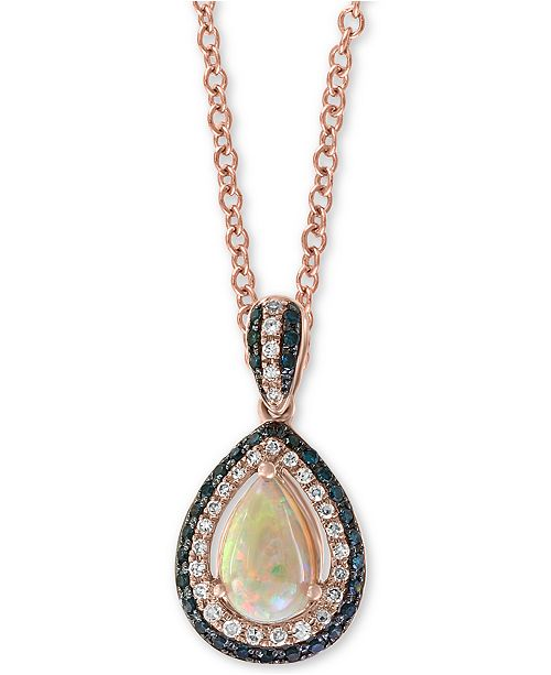 """EFFY Collection EFFY® Opal (3/8 ct. t.w.) & Diamond (1/4 ct. t.w.) 18"""" Pendant Necklace in 14k Rose Gold"""