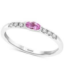 EFFY® Pink Sapphire (1/5 ct. t.w.) & Diamond (1/10 ct. t.w.) Ring in 14k White Gold
