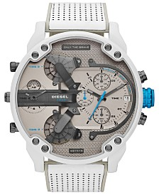 Diesel Men's Chronograph Mr. Daddy 2.0 White Leather Strap Watch 57mm