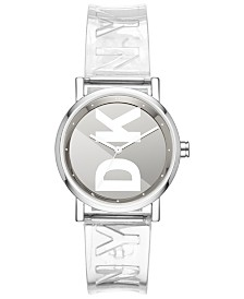 DKNY Women's Soho Clear Polyurethane Strap Watch 34mm