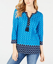 Charter Club Cotton Printed Tassel-Tie Top, Created for Macy's
