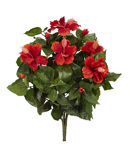 """Nearly Natural 20"""" Hibiscus Artificial Plant, Set of 4"""