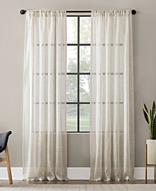 "Textured Slub Stripe Anti-Dust Curtain Panel, 52"" x 95"""