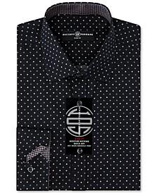 Men's Slim-Fit Non-Iron Performance Quad Dot Dress Shirt