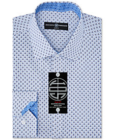 Society of Threads Men's Slim-Fit Non-Iron Performance Four-Way Stretch X-Check Dress Shirt