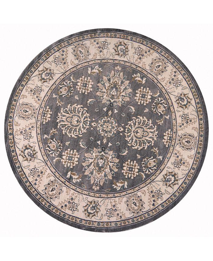 "Kas - Avalon han 5608 Grey/Ivory 7'10"" Round Area Rug"