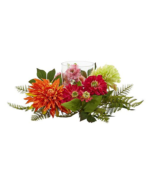 """Nearly Natural 17"""" Mixed Floral and Dahlia Candelabrum"""