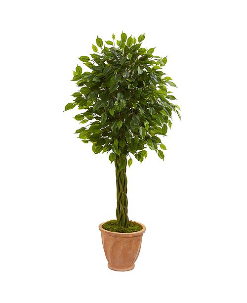 Nearly Natural 4' Braided Ficus Artificial Tree in Terracotta Planter UV Resistant