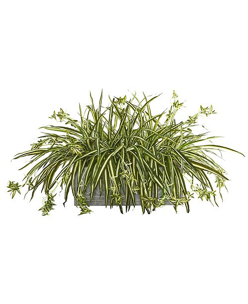 Nearly Natural Spider Plant Artificial Plant in Stone Planter