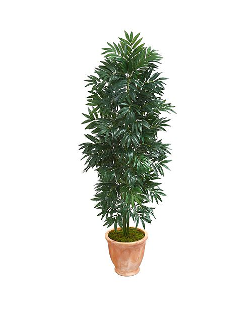Nearly Natural  5' Bamboo Palm Artificial Plant in Terra cotta Planter