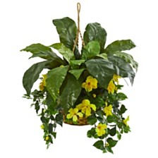 Nearly Natural Birds Nest and Hibiscus Artificial Plant Hanging Basket