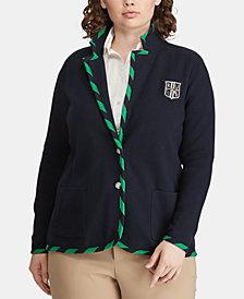 Lauren Ralph Lauren Plus Size Contrast-Trim Jacket