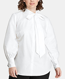 Lauren Ralph Lauren Plus Size Tie-Neck Cotton Shirt