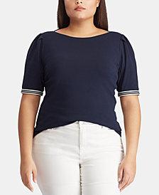 Lauren Ralph Lauren Plus Size Ribbed Boat Neck Top