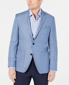 HUGO by Hugo Boss Men's Slim-Fit Blue Glencheck Wool Sport Coat
