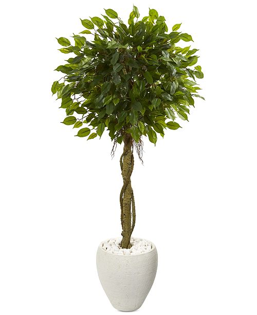 Nearly Natural 4.5' Ficus Artificial Tree in White Oval Planter UV Resistant