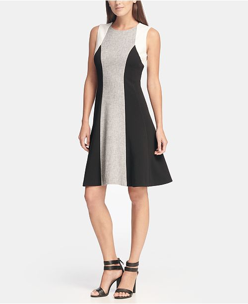 DKNY Sleeveless Colorblock Fit and Flare Dress, Created for Macy's