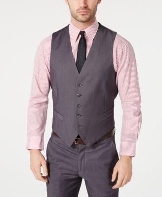 Men's Portfolio Slim-Fit Stretch Gray Solid Suit Vest
