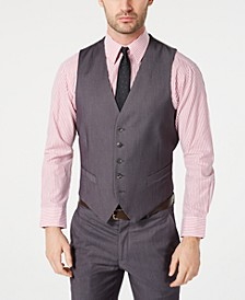 Men's Portfolio Slim-Fit Stretch Gray Solid Suit Vest