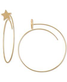 Gold-Tone Star Spear Medium Hoop Earrings