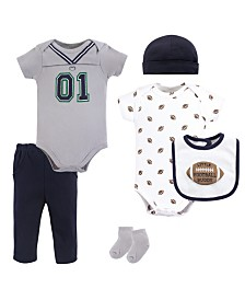 Little Treasure Unisex Baby Layette Set, Football Jersey, 6-Piece Set, 9-12 Months