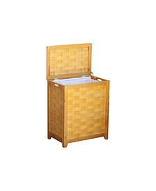 Oceanstar Rectangular Veneer Laundry Wood Hamper with Interior Bag