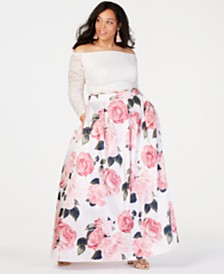 Teeze Me Trendy Plus Size 2-Pc. Off-The-Shoulder Lace & Floral Gown