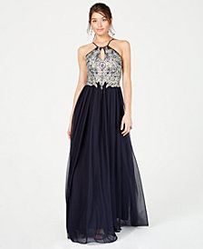 Sequin Hearts Juniors' Embellished Halter Gown
