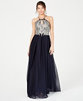 82afce7cdbc4 Sequin Hearts Juniors' Embellished Halter Gown