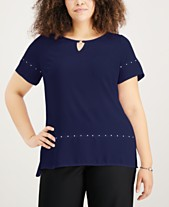 4f7e3106702 JM Collection Plus Size High-Low Stud-Accented Top