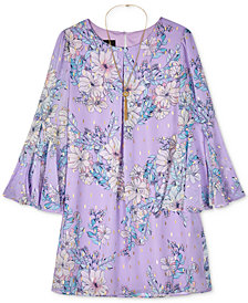 BCX Big Girls 2-Pc. Printed Bell Sleeve Dress & Necklace Set