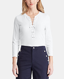 Lauren Ralph Lauren Lace-Up Stretch Top