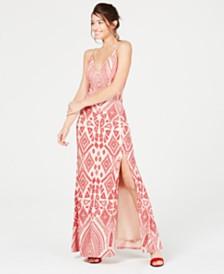 Jump Juniors' Flocked Velvet Geo-Print Gown