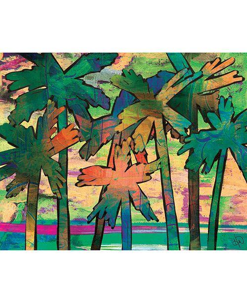 "Creative Gallery Psycho Palm Tree in Green 24"" x 36"" Metal Wall Art Print"