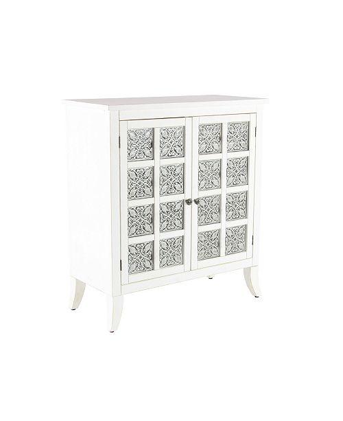 "Rosemary Lane Modern 36"" x 32"" Rectangular White 2-Door Wooden Cabinet"