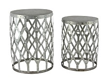 """Set of 2 Contemporary 19"""" and 22"""" Round Gray Iron Patio Tables"""