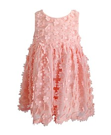 Little Girls Peach Flower Dress