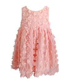 Little Girls Peach Flower Dress