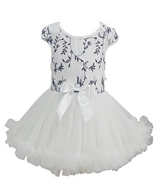 Little Girls White and Black Embroidered Dress