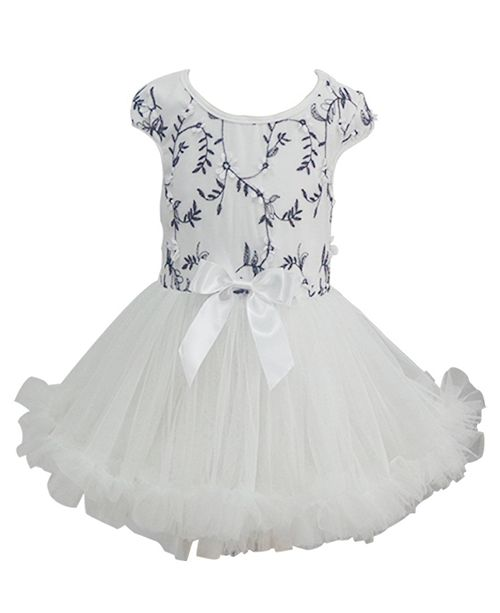 Popatu Little Girls White and Black Embroidered Dress