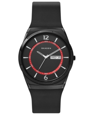 Skagen Watches MEN'S MELBYE BLACK SILICONE STRAP WATCH 40MM