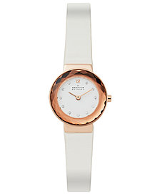 Skagen Women's Leonora White Leather Strap Watch 25mm