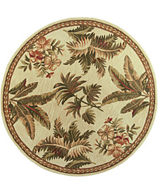 "KAS Sparta Tropical Oasis 3133 Ivory 7'6"" Round Area Rug"